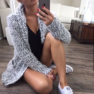 Black & White Fuzzy Hooded Pocketed Cardigan